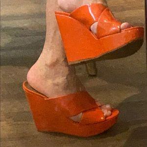 """Ladies """"orange"""" wedge shoes"""